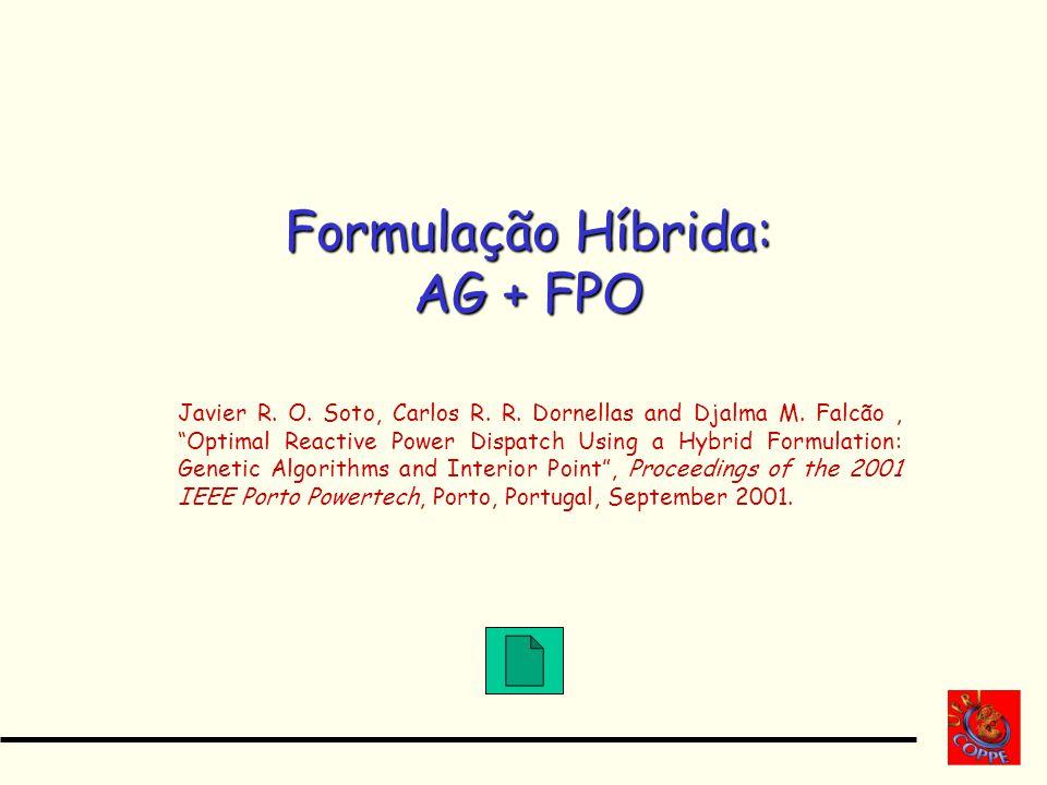 Formulação Híbrida: AG + FPO Javier R. O. Soto, Carlos R. R. Dornellas and Djalma M. Falcão, Optimal Reactive Power Dispatch Using a Hybrid Formulatio