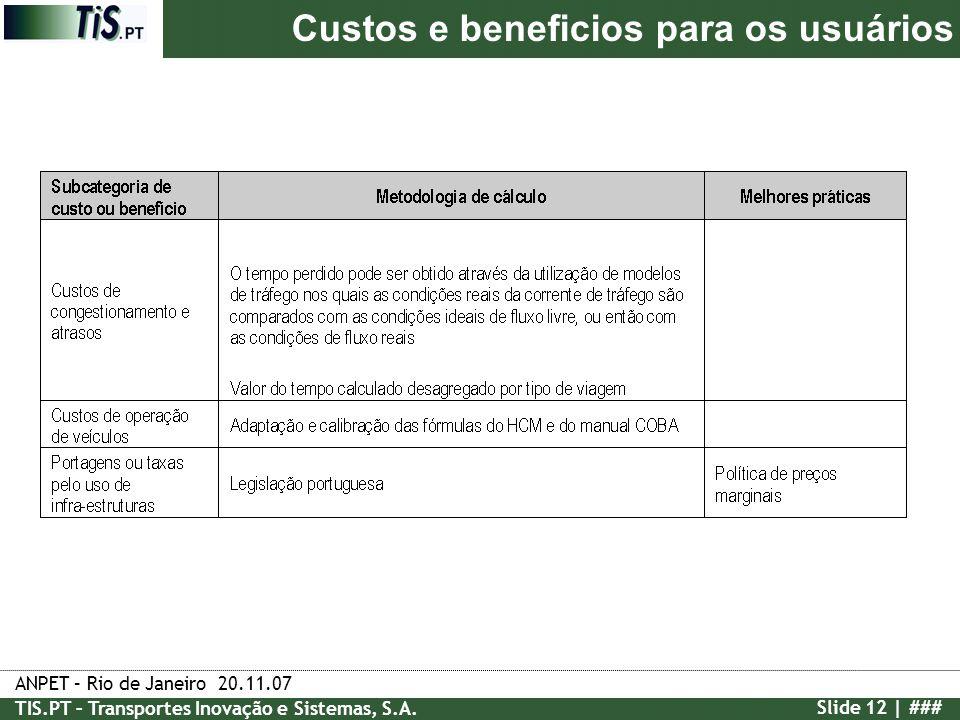 ANPET – Rio de Janeiro 20.11.07 TIS.PT – Transportes Inovação e Sistemas, S.A. Slide 12 | ### Custos e beneficios para os usuários