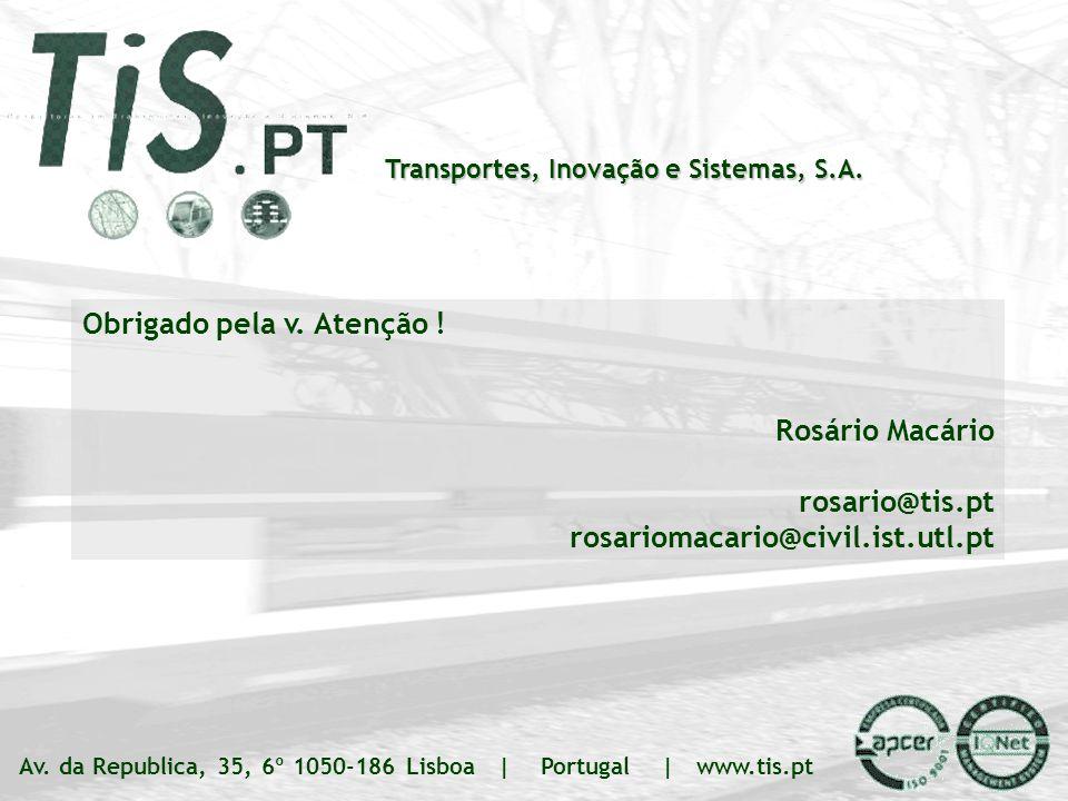 ANPET – Rio de Janeiro 20.11.07 TIS.PT – Transportes Inovação e Sistemas, S.A. Slide 16 | ### Transportes, Inovação e Sistemas, S.A. Av. da Republica,