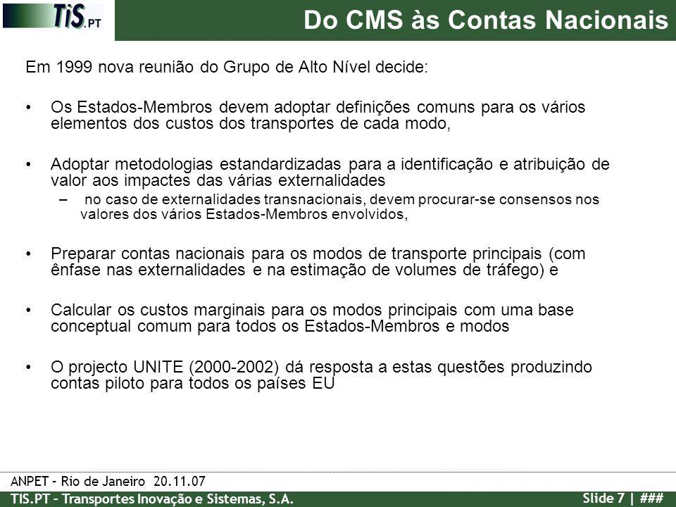 ANPET – Rio de Janeiro 20.11.07 TIS.PT – Transportes Inovação e Sistemas, S.A. Slide 7 | ### Em 1999 nova reunião do Grupo de Alto Nível decide: Os Es