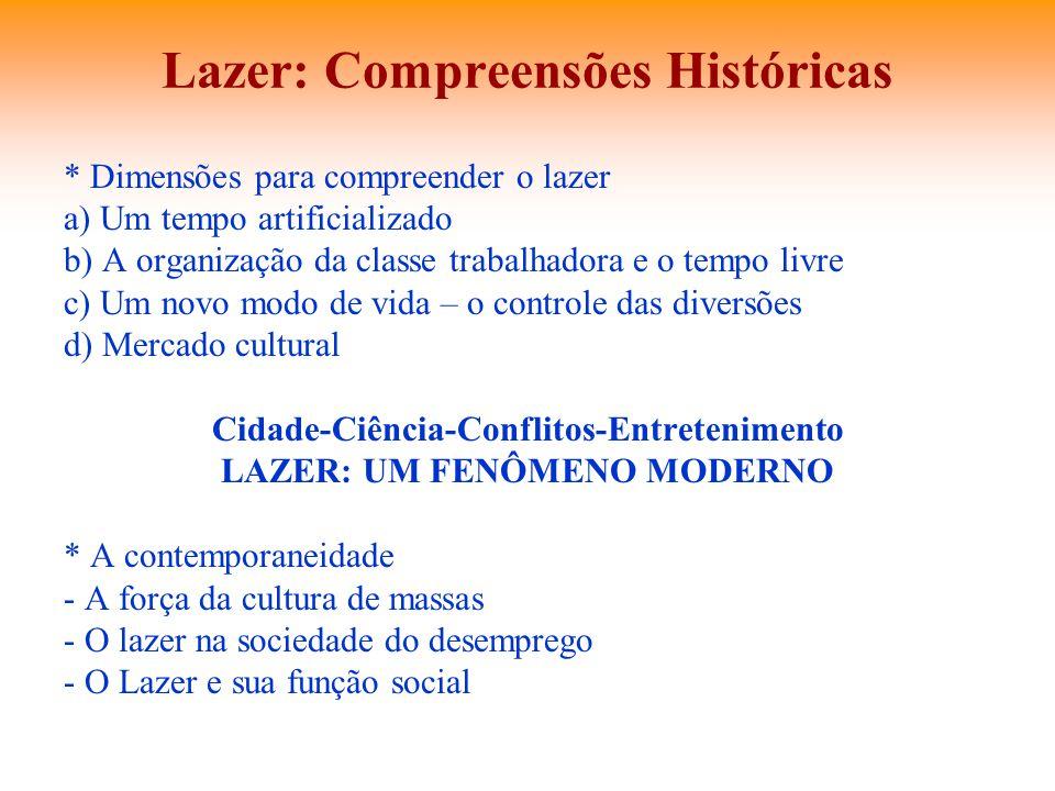 Lazer: Compreensões Históricas * Dimensões para compreender o lazer a) Um tempo artificializado b) A organização da classe trabalhadora e o tempo livr