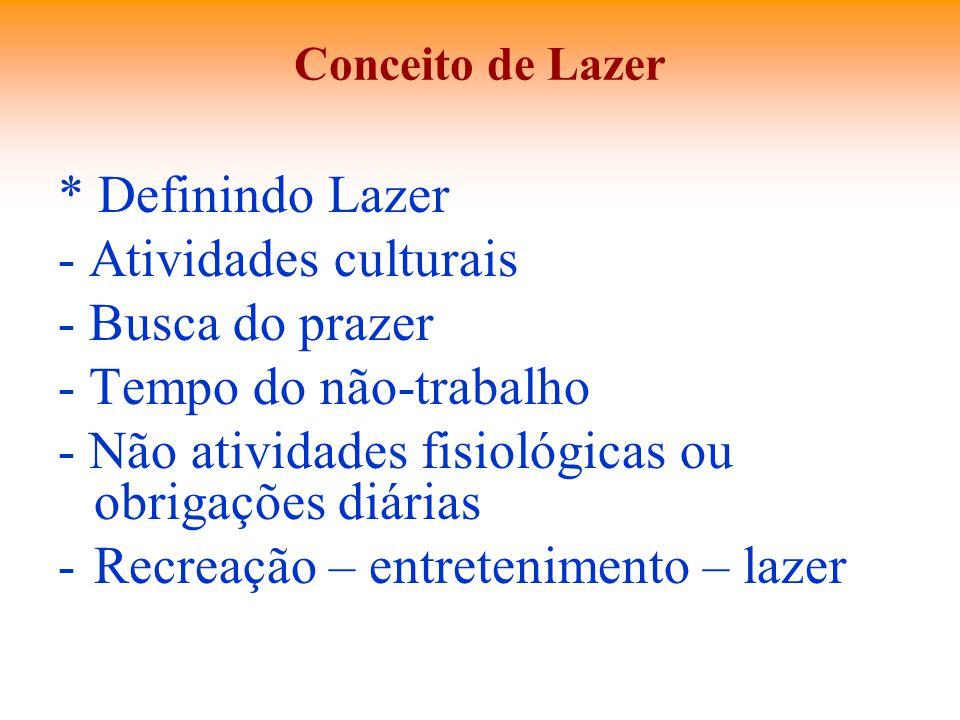 Conceito de Lazer * Definindo Lazer - Atividades culturais - Busca do prazer - Tempo do não-trabalho - Não atividades fisiológicas ou obrigações diári