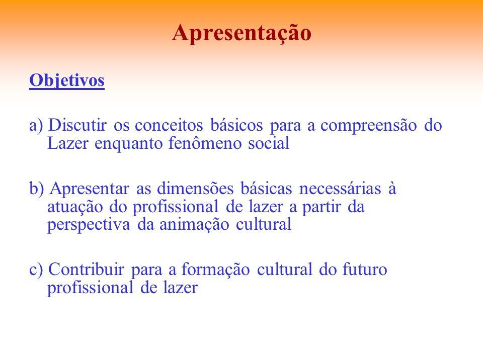 Apresentação Objetivos a) Discutir os conceitos básicos para a compreensão do Lazer enquanto fenômeno social b) Apresentar as dimensões básicas necess