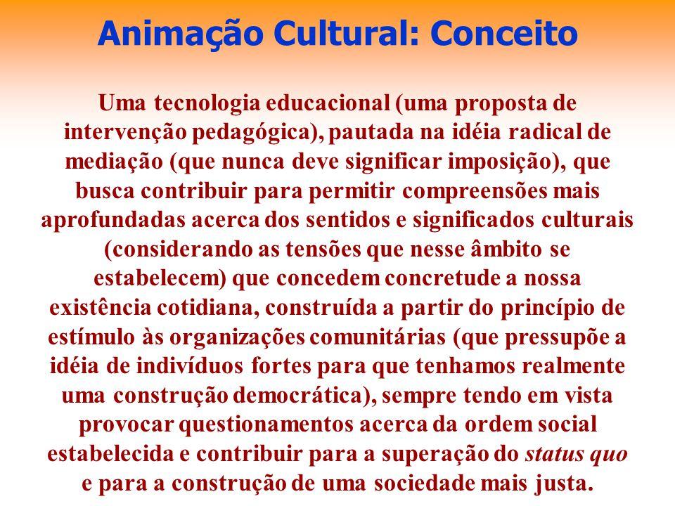 Animação Cultural: Conceito Uma tecnologia educacional (uma proposta de intervenção pedagógica), pautada na idéia radical de mediação (que nunca deve