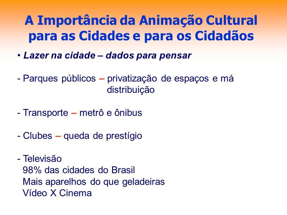 A Importância da Animação Cultural para as Cidades e para os Cidadãos Lazer na cidade – dados para pensar - Parques públicos – privatização de espaços