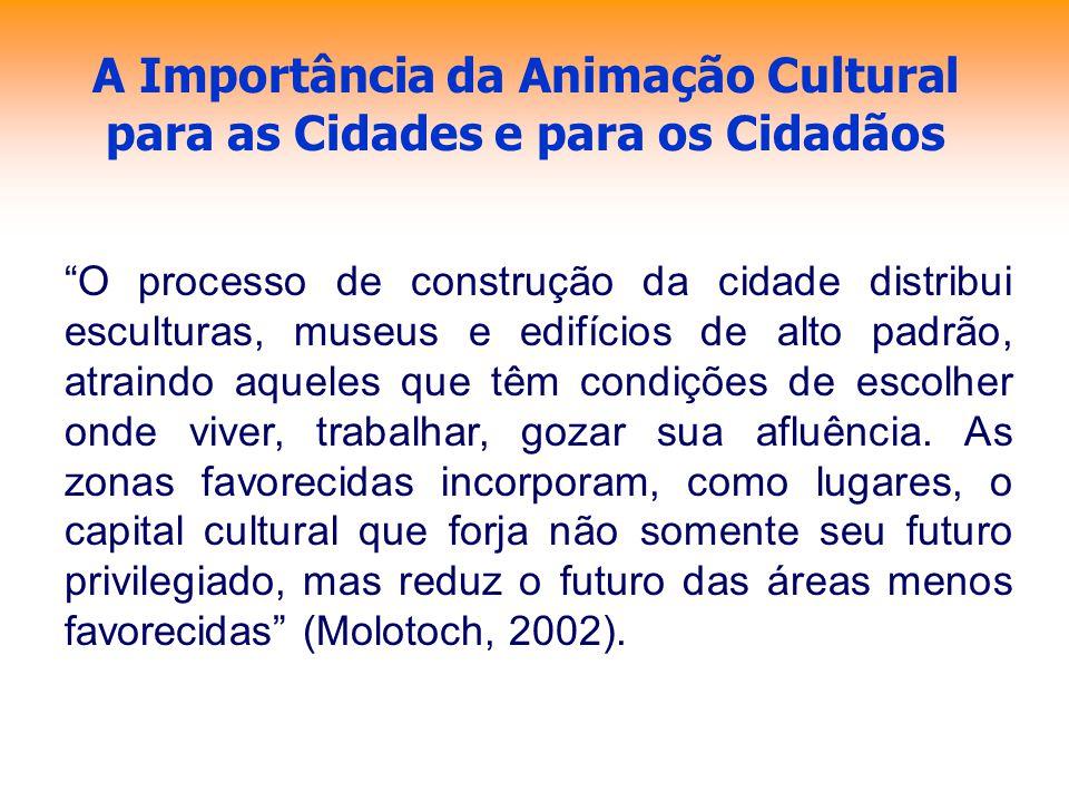 A Importância da Animação Cultural para as Cidades e para os Cidadãos O processo de construção da cidade distribui esculturas, museus e edifícios de a