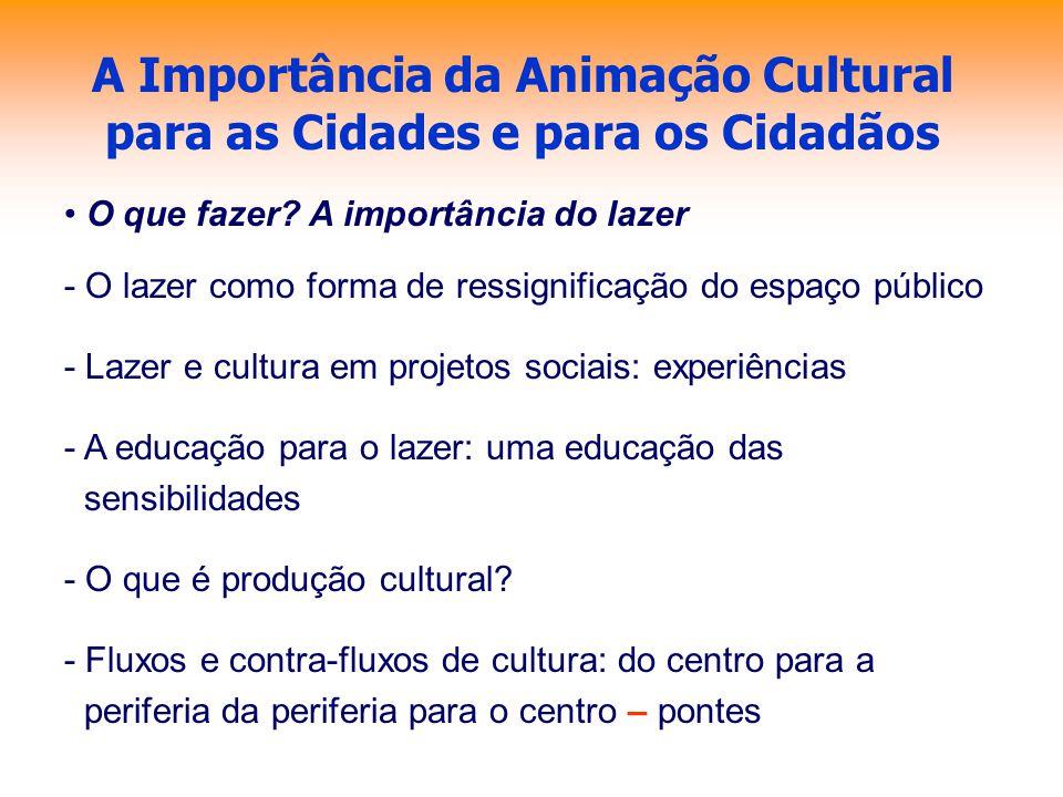 A Importância da Animação Cultural para as Cidades e para os Cidadãos O que fazer? A importância do lazer - O lazer como forma de ressignificação do e