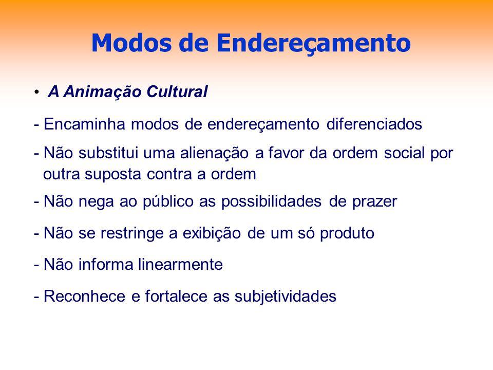 Modos de Endereçamento A Animação Cultural - Encaminha modos de endereçamento diferenciados - Não substitui uma alienação a favor da ordem social por