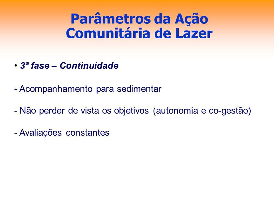 Parâmetros da Ação Comunitária de Lazer 3ª fase – Continuidade - Acompanhamento para sedimentar - Não perder de vista os objetivos (autonomia e co-ges