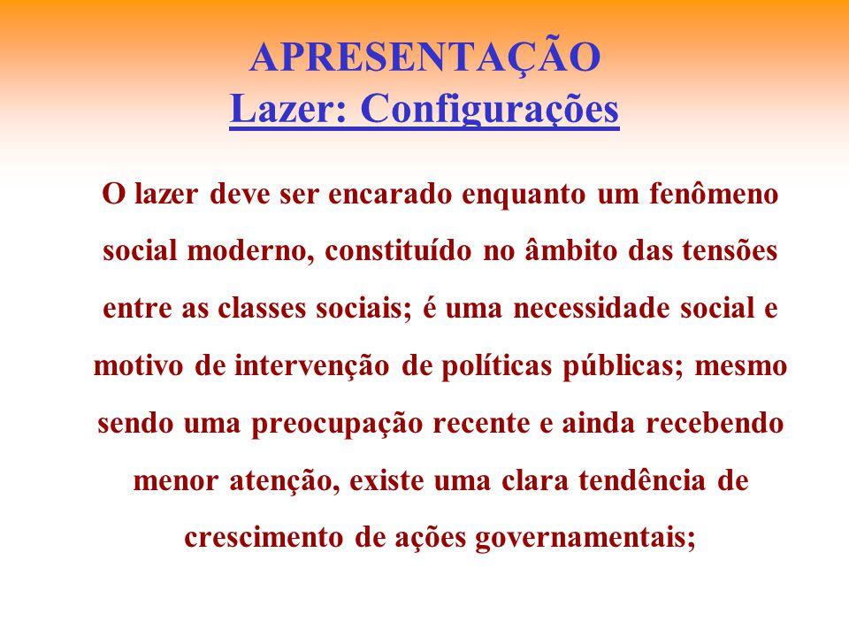 APRESENTAÇÃO Lazer: Configurações O lazer deve ser encarado enquanto um fenômeno social moderno, constituído no âmbito das tensões entre as classes so