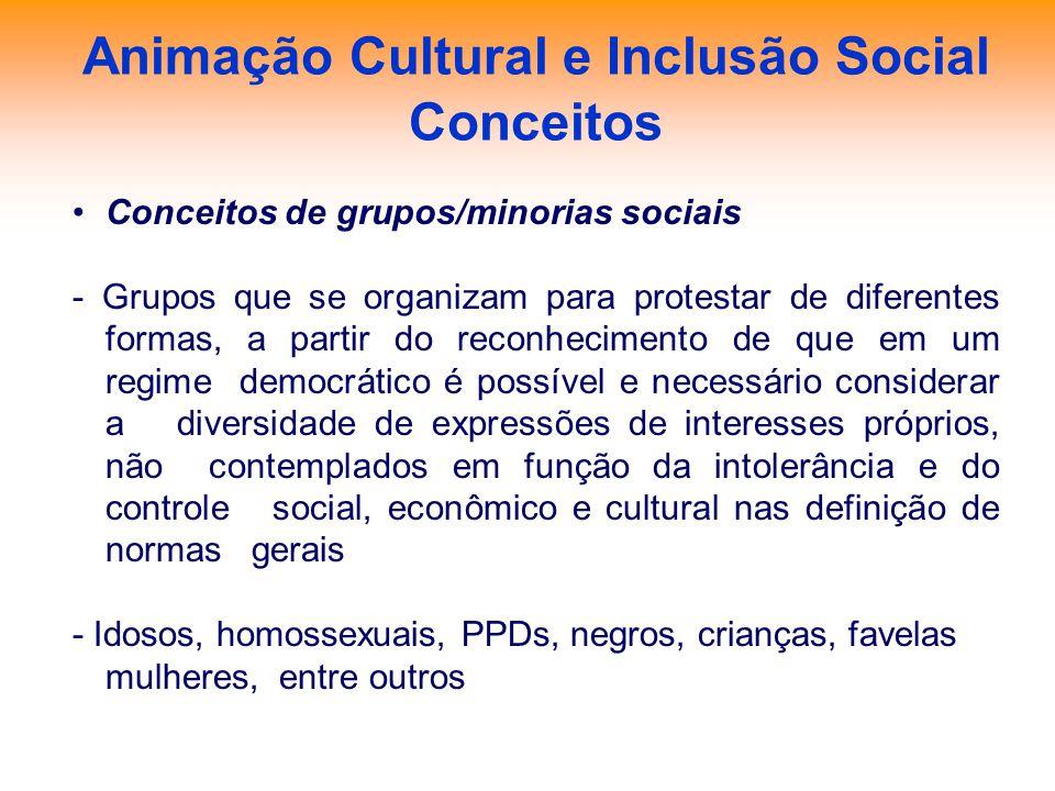 Animação Cultural e Inclusão Social Conceitos Conceitos de grupos/minorias sociais - Grupos que se organizam para protestar de diferentes formas, a pa