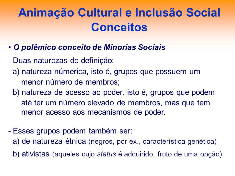Animação Cultural e Inclusão Social Conceitos O polêmico conceito de Minorias Sociais - Duas naturezas de definição: a) natureza númerica, isto é, gru