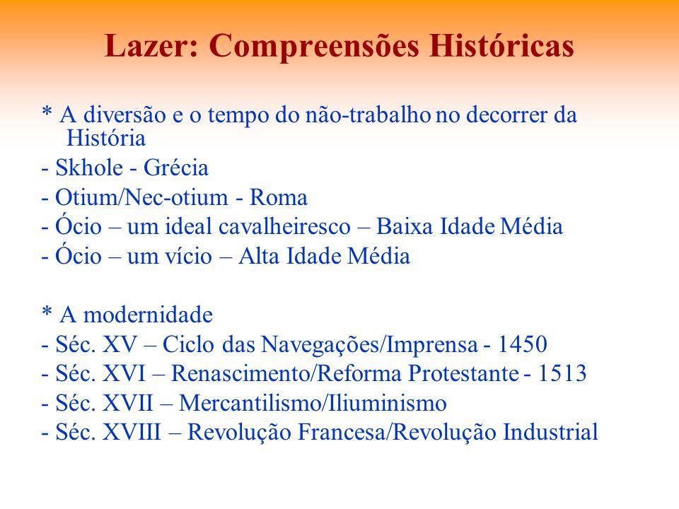 Lazer: Compreensões Históricas * A diversão e o tempo do não-trabalho no decorrer da História - Skhole - Grécia - Otium/Nec-otium - Roma - Ócio – um i