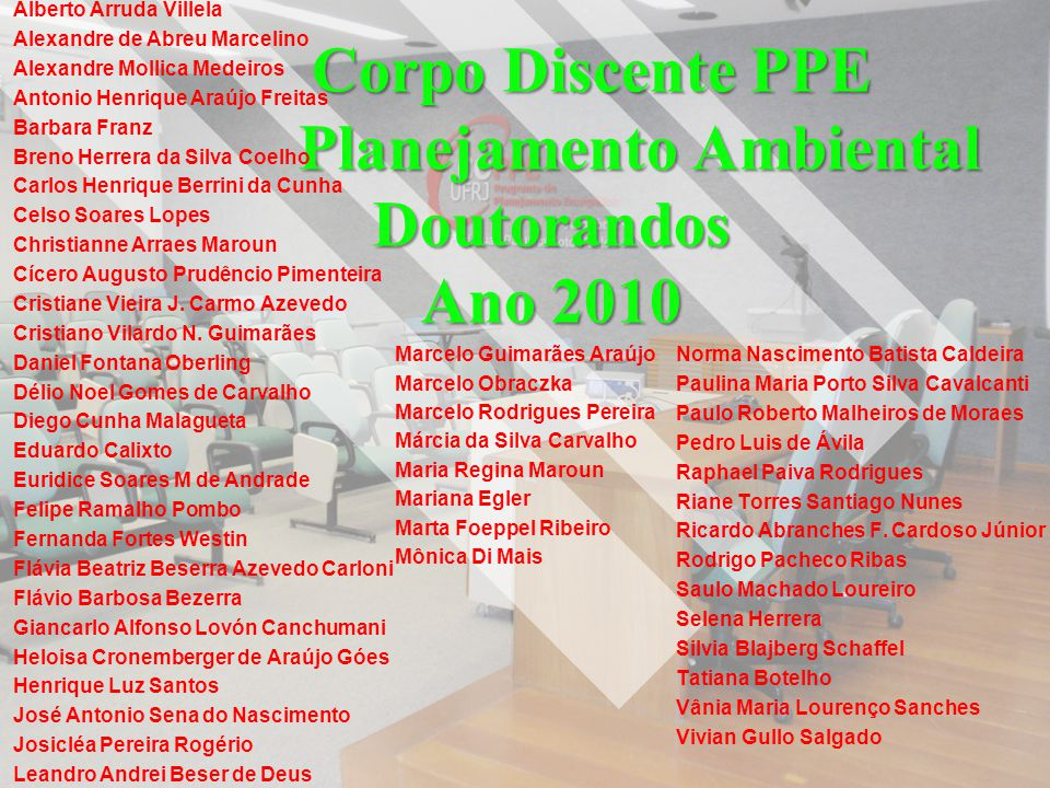 Corpo Discente PPE Planejamento Ambiental Doutorandos Ano 2010 Alberto Arruda Villela Alexandre de Abreu Marcelino Alexandre Mollica Medeiros Antonio