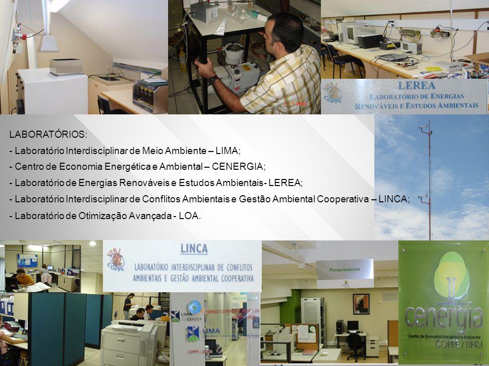 13 LABORATÓRIOS: - Laboratório Interdisciplinar de Meio Ambiente – LIMA; - Centro de Economia Energética e Ambiental – CENERGIA; - Laboratório de Ener