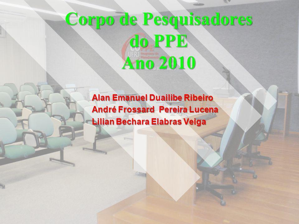 Corpo de Pesquisadores do PPE Ano 2010 Alan Emanuel Duailibe Ribeiro André Frossard Pereira Lucena Lilian Bechara Elabras Veiga