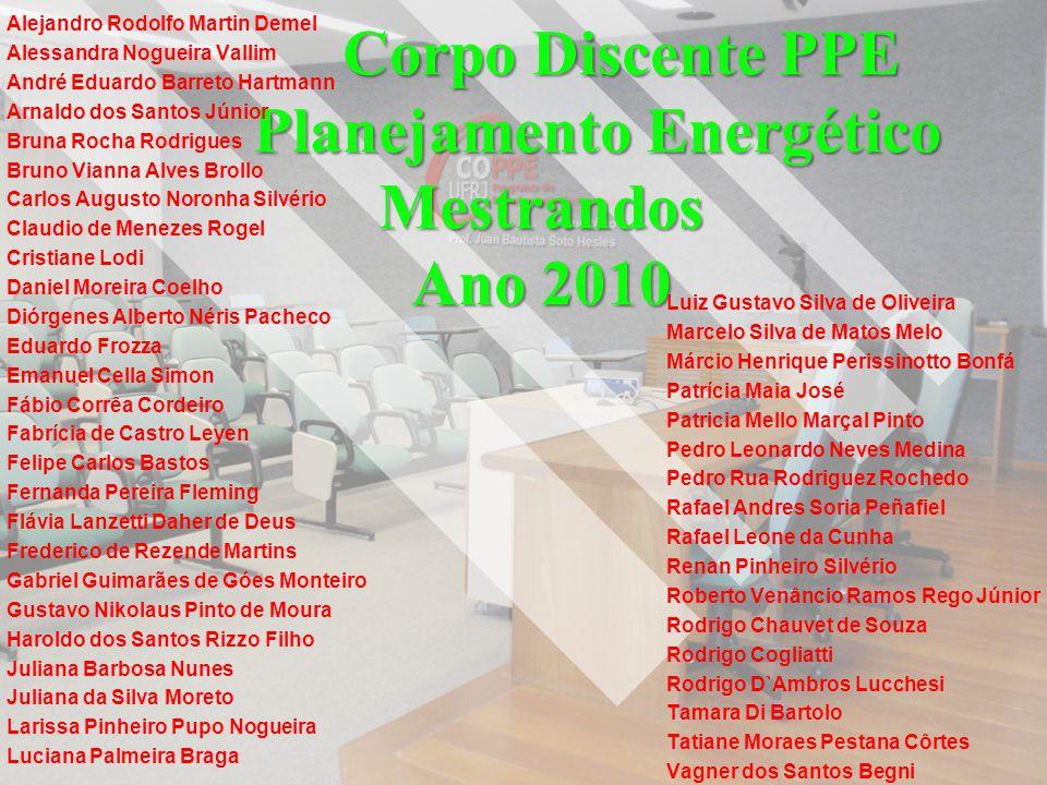 Corpo Discente PPE Planejamento Energético Mestrandos Ano 2010 Alejandro Rodolfo Martin Demel Alessandra Nogueira Vallim André Eduardo Barreto Hartman