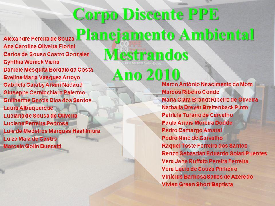 Corpo Discente PPE Planejamento Ambiental Mestrandos Ano 2010 Alexandre Pereira de Souza Ana Carolina Oliveira Fiorini Carlos de Sousa Castro Gonzalez