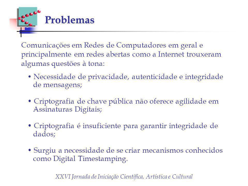 XXVI Jornada de Iniciação Científica, Artística e Cultural Problemas Comunicações em Redes de Computadores em geral e principalmente em redes abertas
