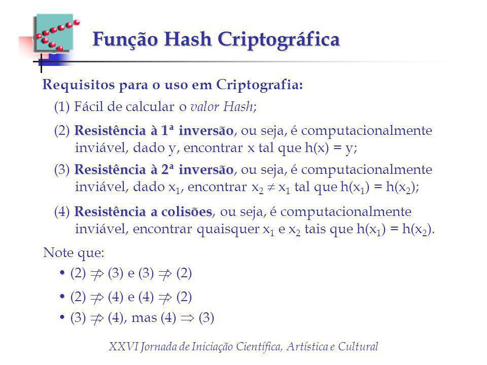 XXVI Jornada de Iniciação Científica, Artística e Cultural Função Hash Criptográfica Requisitos para o uso em Criptografia: (1) Fácil de calcular o va
