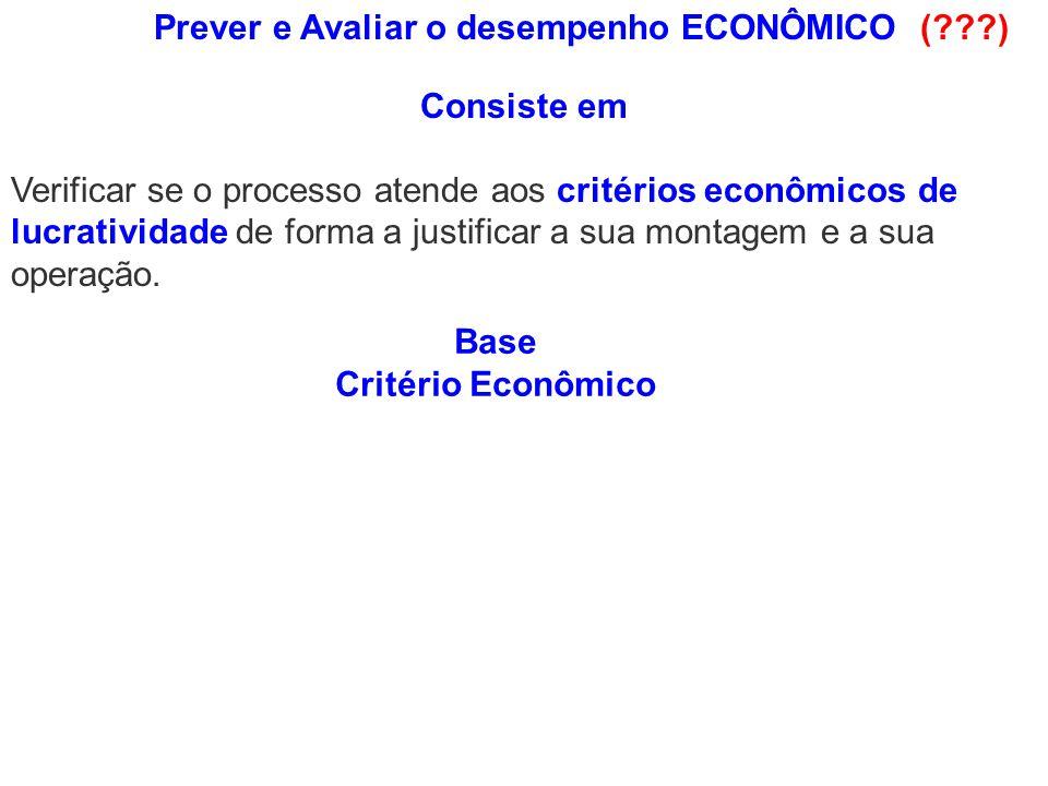 Verificar se o processo atende aos critérios econômicos de lucratividade de forma a justificar a sua montagem e a sua operação. Base Critério Econômic