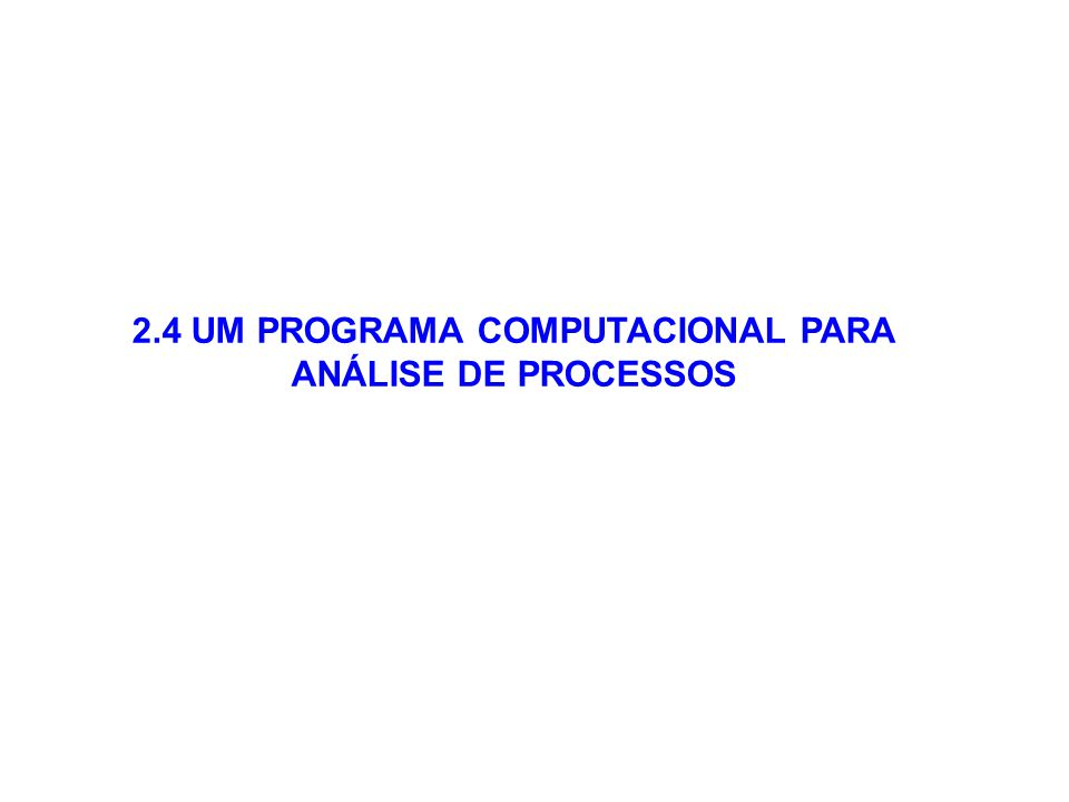 2.4 UM PROGRAMA COMPUTACIONAL PARA ANÁLISE DE PROCESSOS