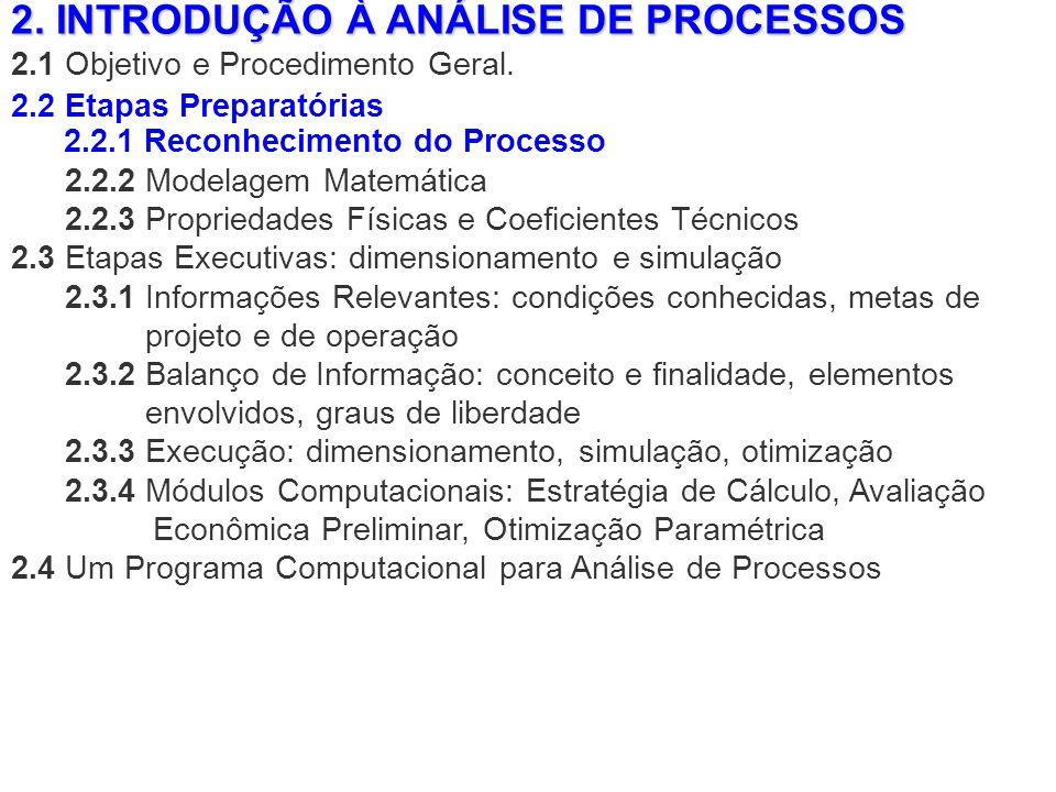 2. INTRODUÇÃO À ANÁLISE DE PROCESSOS 2.1 Objetivo e Procedimento Geral. 2.2.2 Modelagem Matemática 2.2.3 Propriedades Físicas e Coeficientes Técnicos