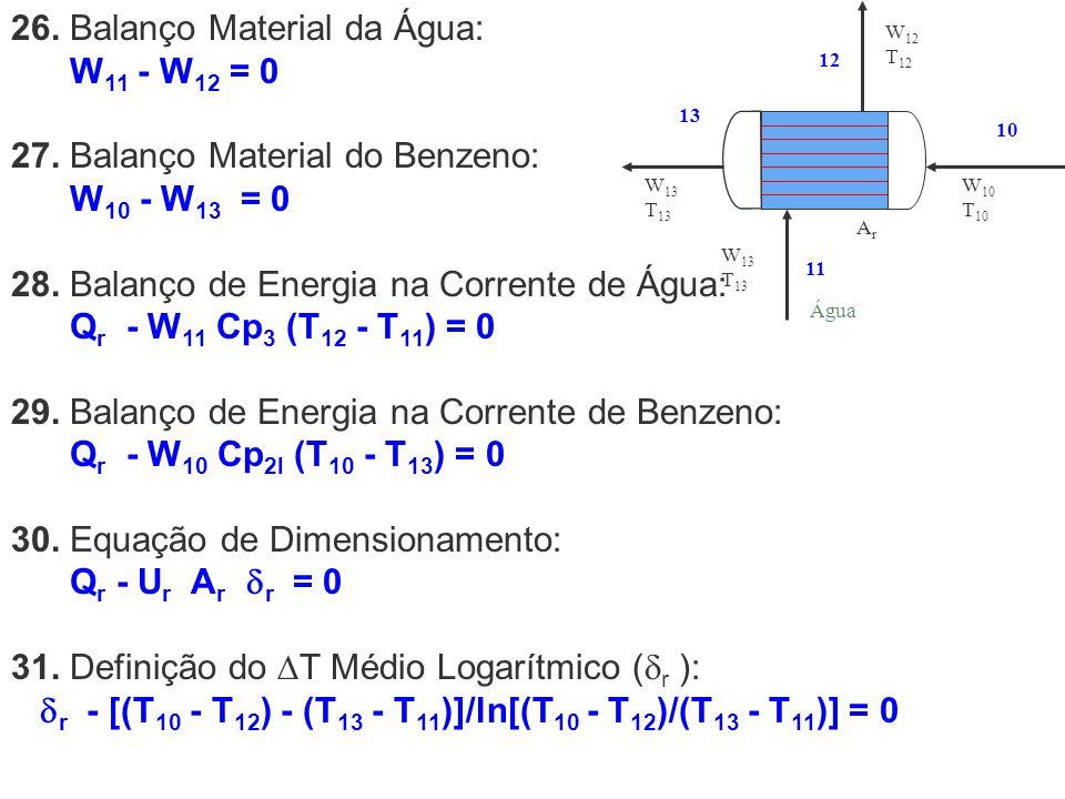 26. Balanço Material da Água: W 11 - W 12 = 0 27. Balanço Material do Benzeno: W 10 - W 13 = 0 28. Balanço de Energia na Corrente de Água: Q r - W 11
