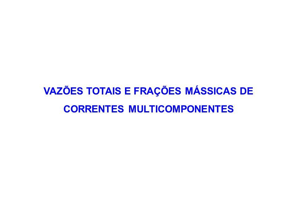 VAZÕES TOTAIS E FRAÇÕES MÁSSICAS DE CORRENTES MULTICOMPONENTES