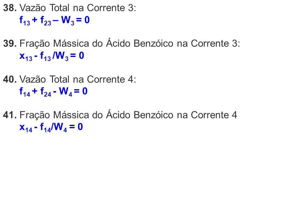 38. Vazão Total na Corrente 3: f 13 + f 23 – W 3 = 0 39. Fração Mássica do Ácido Benzóico na Corrente 3: x 13 - f 13 /W 3 = 0 40. Vazão Total na Corre