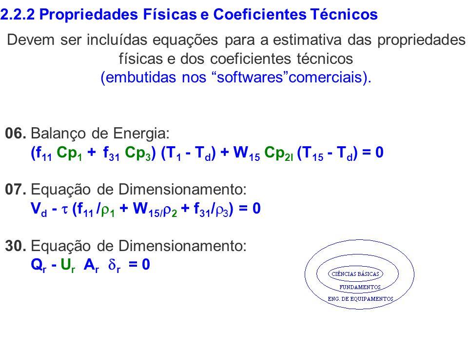 2.2.2 Propriedades Físicas e Coeficientes Técnicos Devem ser incluídas equações para a estimativa das propriedades físicas e dos coeficientes técnicos