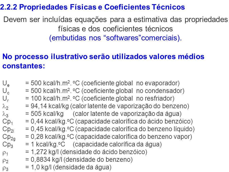 2.2.2 Propriedades Físicas e Coeficientes Técnicos No processo ilustrativo serão utilizados valores médios constantes: U e = 500 kcal/h.m 2. o C (coef