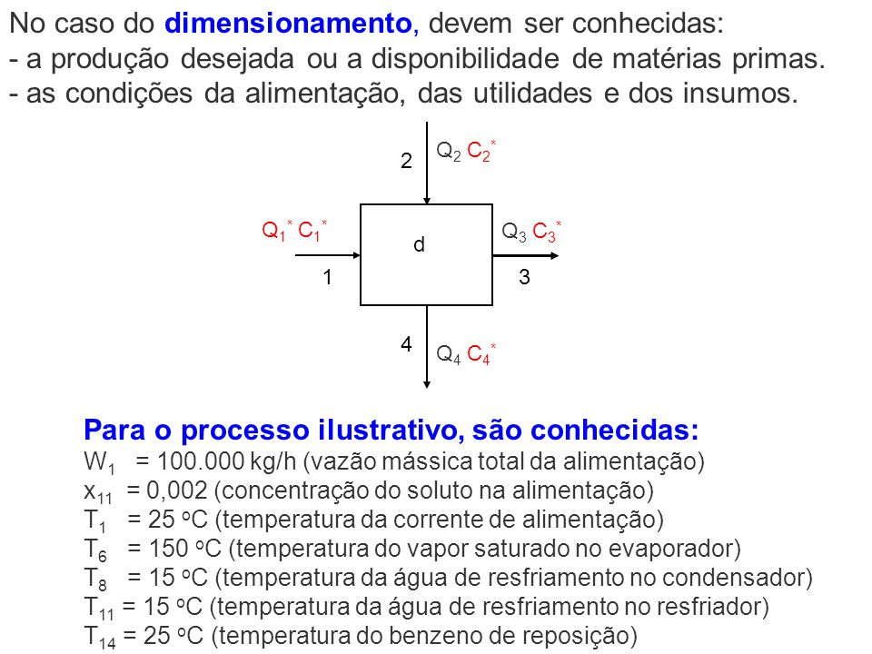 Para o processo ilustrativo, são conhecidas: W 1 = 100.000 kg/h (vazão mássica total da alimentação) x 11 = 0,002 (concentração do soluto na alimentaç