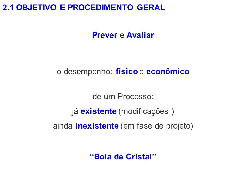 2.1 OBJETIVO E PROCEDIMENTO GERAL Bola de Cristal Prever e Avaliar de um Processo: já existente (modificações ) ainda inexistente (em fase de projeto)