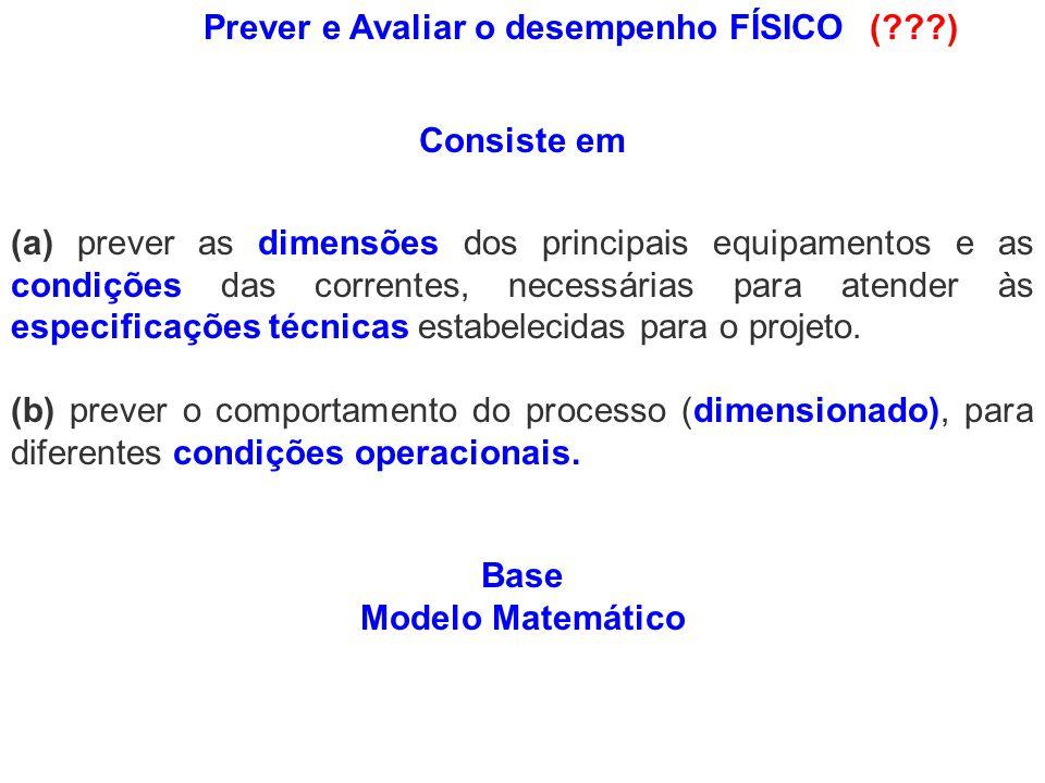 Fluxograma do Processo Dimensionamento: condições conhecidas W6T*6W6T*6 W 10 T 10 W 13 T 13 W 11 T * 11 W8T*8W8T*8 W * 1 x * 11 T * 1 f 11 f 31 W7T7W7T7 W5T5W5T5 W 3 x 13 T 3 f 13 f 23 W 4 x 14 T 4 f 14 f 24 W 12 T 12 W 14 T * 14 W 2 x 12 T 2 f 12 f 32 EXTRATOR Extrat o Rafinado EVAPORADOR CONDENSADORRESFRIADORMISTURADOR BOMBA 1 2 3 4 5 67 8 9 10 11 12 13 14 15 VdVd AeAe AcAc ArAr tr Alimentação Vapor Água Benzeno Produto Condensado Benzeno W 15 T 15