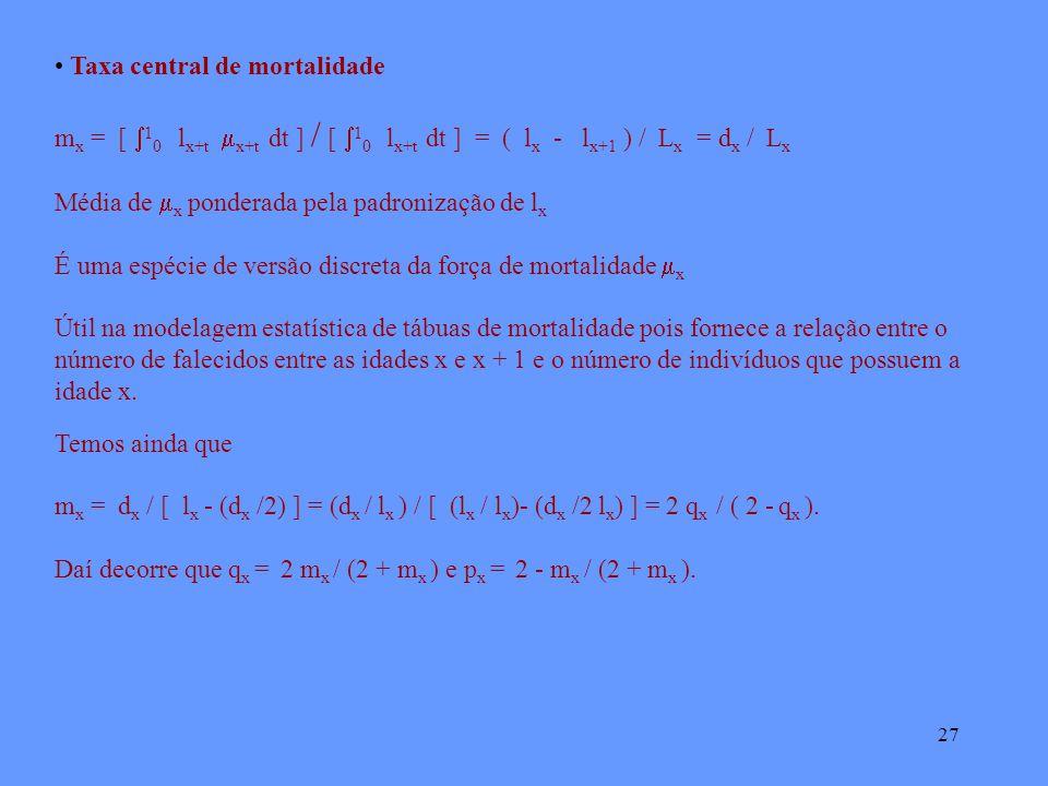 27 Taxa central de mortalidade m x = [ 1 0 l x+t x+t dt ] / [ 1 0 l x+t dt ] = ( l x - l x+1 ) / L x = d x / L x Média de x ponderada pela padronização de l x É uma espécie de versão discreta da força de mortalidade x Útil na modelagem estatística de tábuas de mortalidade pois fornece a relação entre o número de falecidos entre as idades x e x + 1 e o número de indivíduos que possuem a idade x.