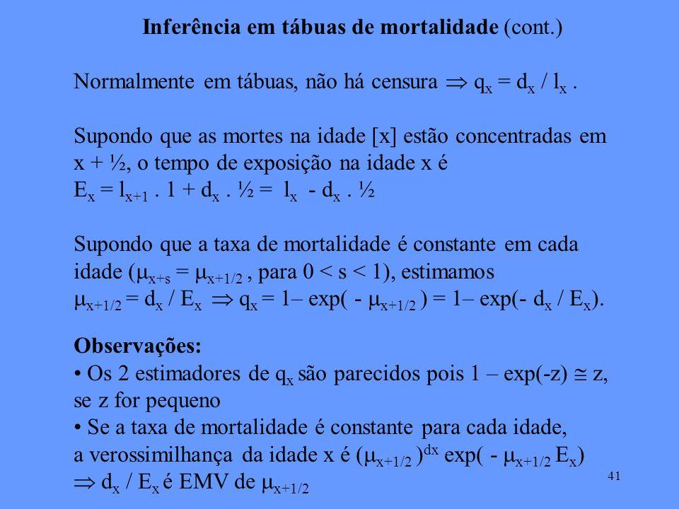 41 Inferência em tábuas de mortalidade (cont.) Normalmente em tábuas, não há censura q x = d x / l x.
