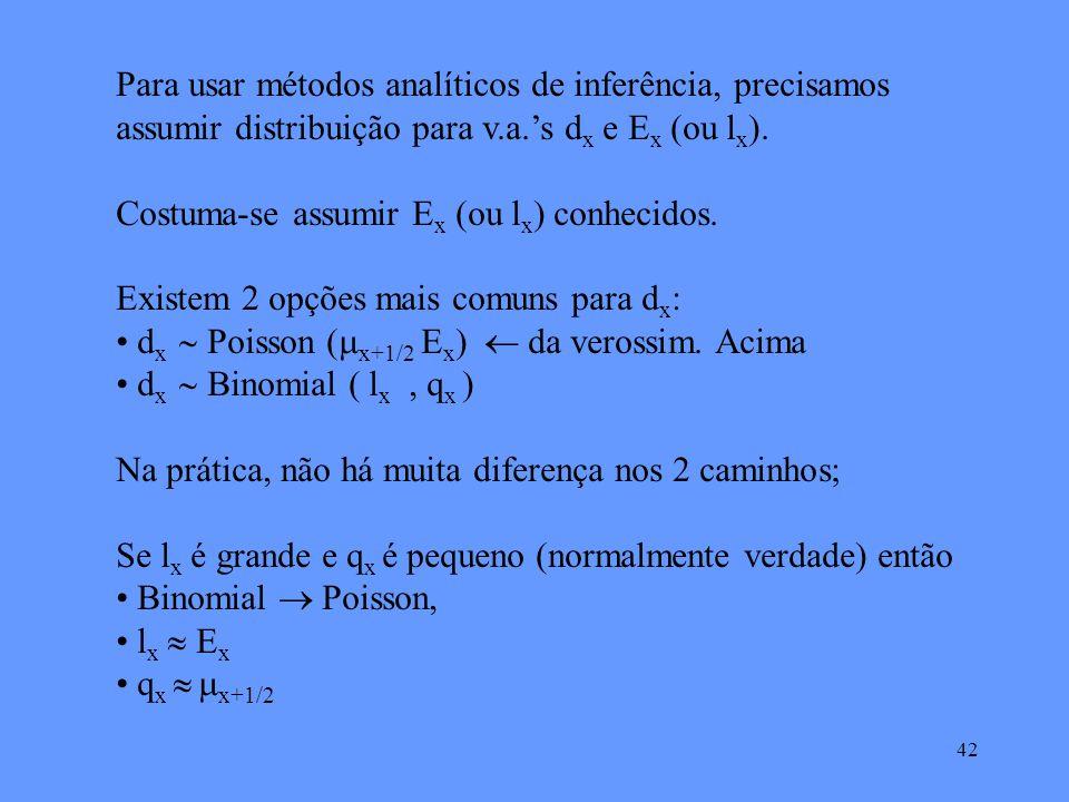 42 Para usar métodos analíticos de inferência, precisamos assumir distribuição para v.a.s d x e E x (ou l x ).