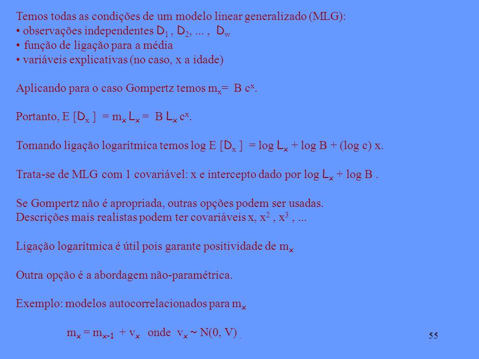 55 Temos todas as condições de um modelo linear generalizado (MLG): observações independentes D 1, D 2,..., D w função de ligação para a média variáveis explicativas (no caso, x a idade) Aplicando para o caso Gompertz temos m x = B c x.