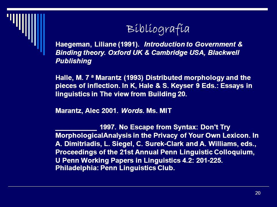 20 Bibliografia Haegeman, Liliane (1991). Introduction to Government & Binding theory. Oxford UK & Cambridge USA, Blackwell Publishing Halle, M. 7 ª M