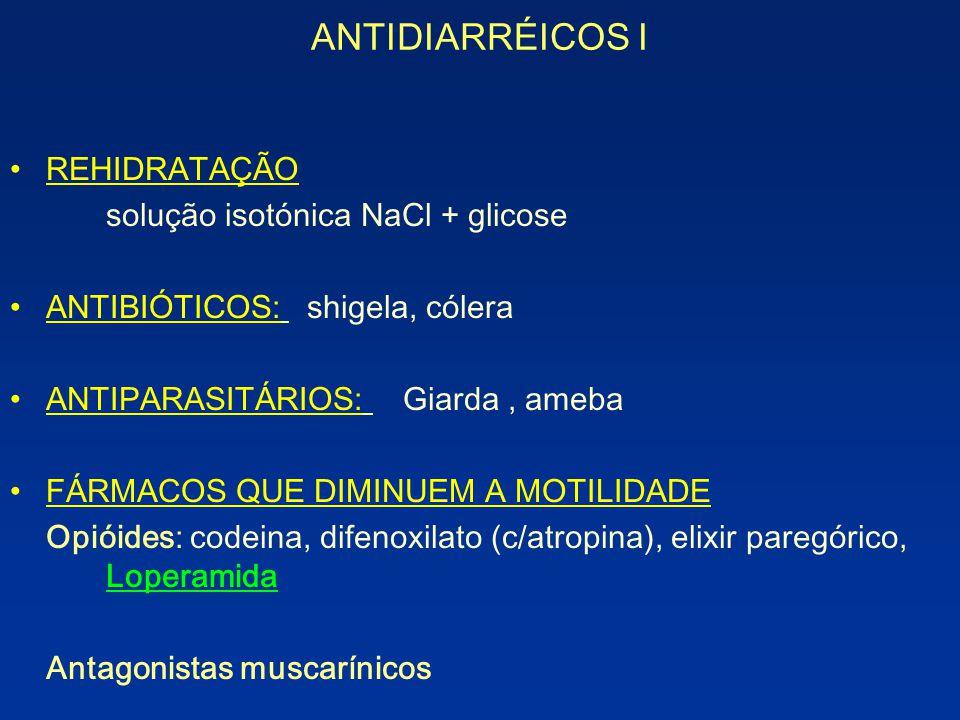 ANTIDIARRÉICOS I REHIDRATAÇÃO solução isotónica NaCl + glicose ANTIBIÓTICOS: shigela, cólera ANTIPARASITÁRIOS: Giarda, ameba FÁRMACOS QUE DIMINUEM A M