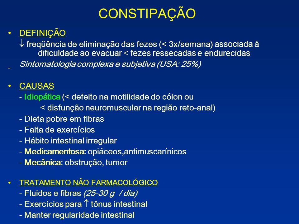 CONSTIPAÇÃO DEFINIÇÃO freqüência de eliminação das fezes (< 3x/semana) associada à dificuldade ao evacuar < fezes ressecadas e endurecidas Sintomatolo
