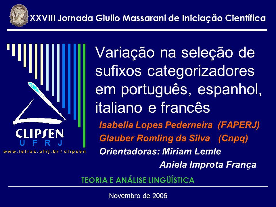 Variação na seleção de sufixos categorizadores em português, espanhol, italiano e francês Isabella Lopes Pederneira (FAPERJ) Glauber Romling da Silva