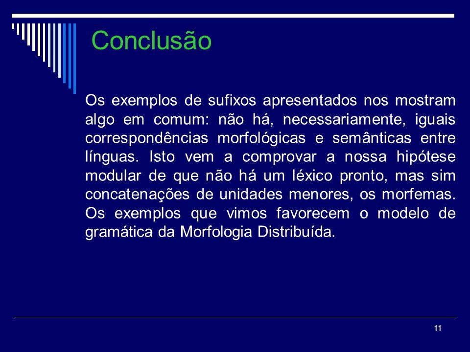 11 Conclusão Os exemplos de sufixos apresentados nos mostram algo em comum: não há, necessariamente, iguais correspondências morfológicas e semânticas entre línguas.