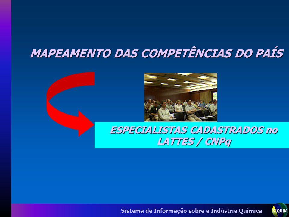 Sistema de Informação sobre a Indústria Química MAPEAMENTO DAS COMPETÊNCIAS DO PAÍS ESPECIALISTAS CADASTRADOS no LATTES / CNPq