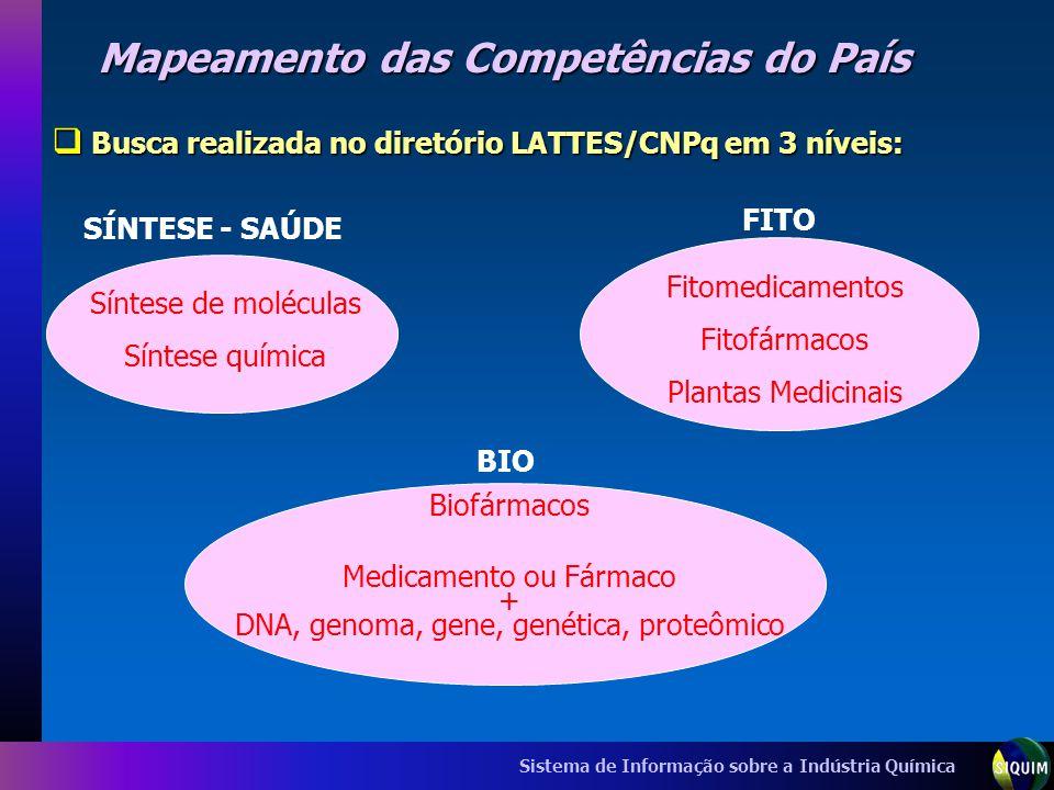 Sistema de Informação sobre a Indústria Química Mapeamento das Competências do País Busca realizada no diretório LATTES/CNPq em 3 níveis: Busca realiz