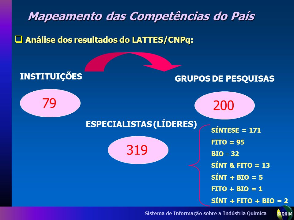 Sistema de Informação sobre a Indústria Química Mapeamento das Competências do País Análise dos resultados do LATTES/CNPq: Análise dos resultados do L