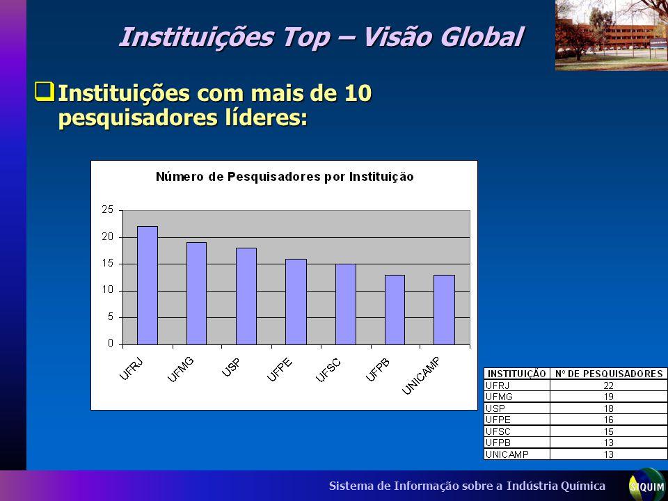 Sistema de Informação sobre a Indústria Química Instituições Top – Visão Global Instituições com mais de 10 pesquisadores líderes: Instituições com ma