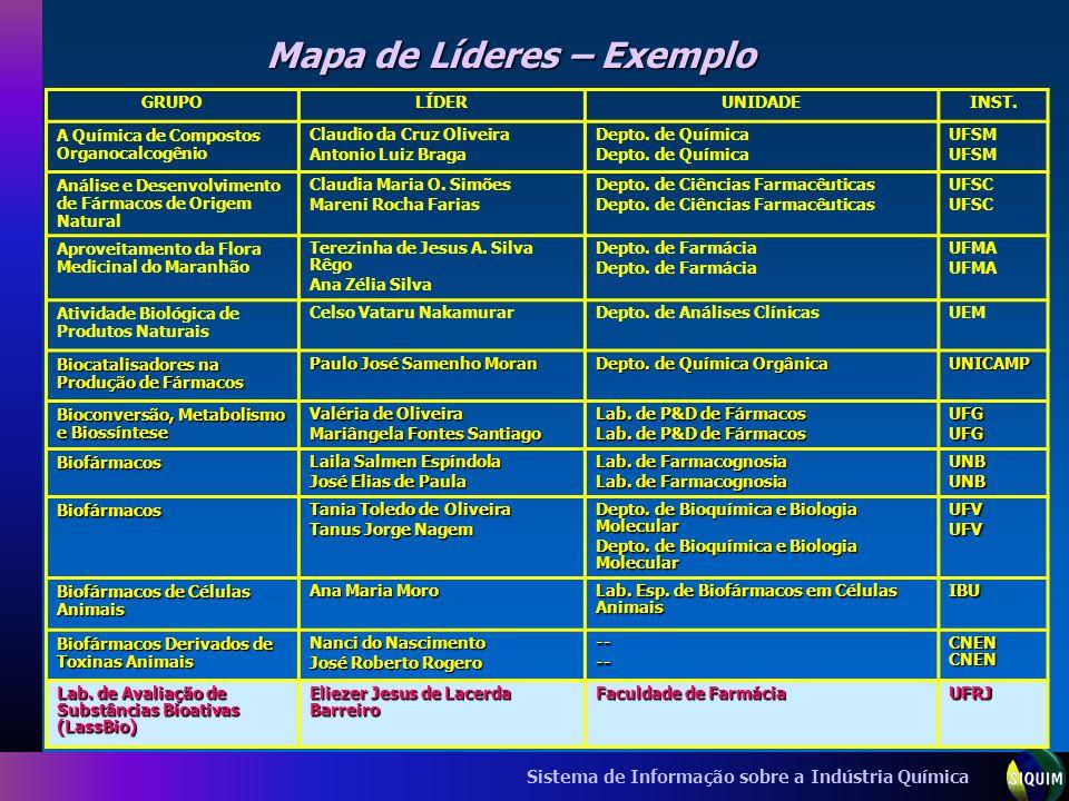 Sistema de Informação sobre a Indústria Química Mapa de Líderes – Exemplo GRUPOLÍDERUNIDADEINST. A Química de Compostos Organocalcogênio Claudio da Cr