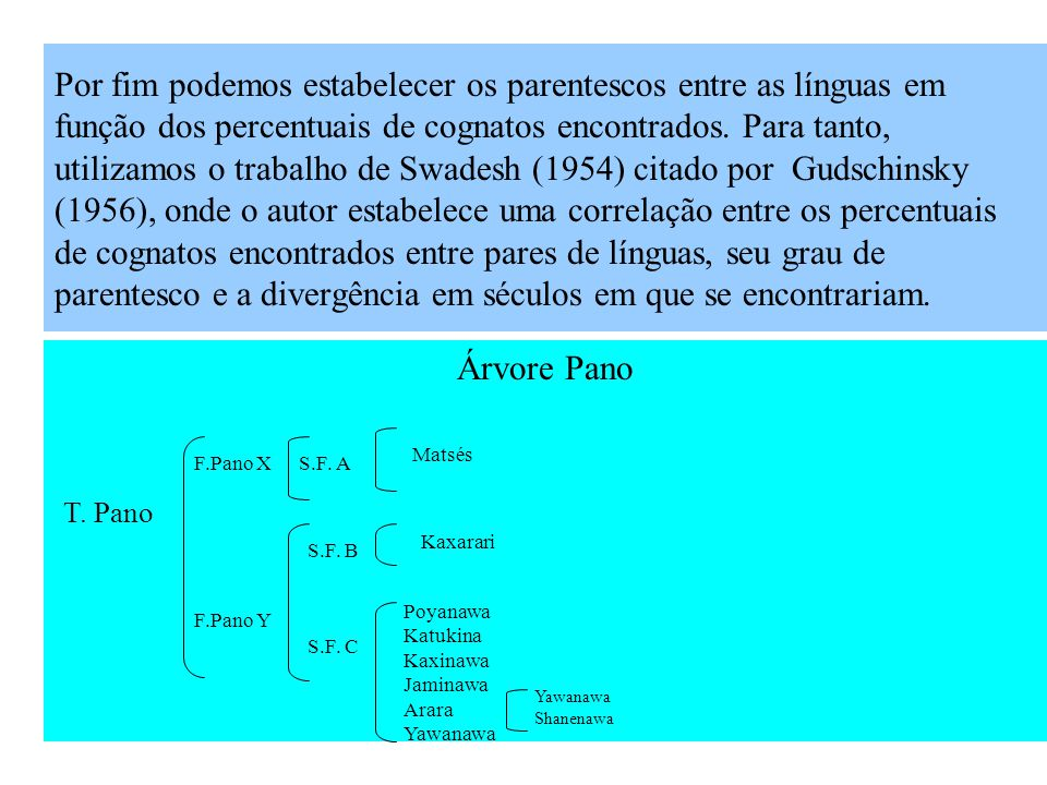 Depois de analisados os dados, computando os itens que consideramos como sendo cognatos, estabelecemos os percentuais de cognatos entre as línguas est